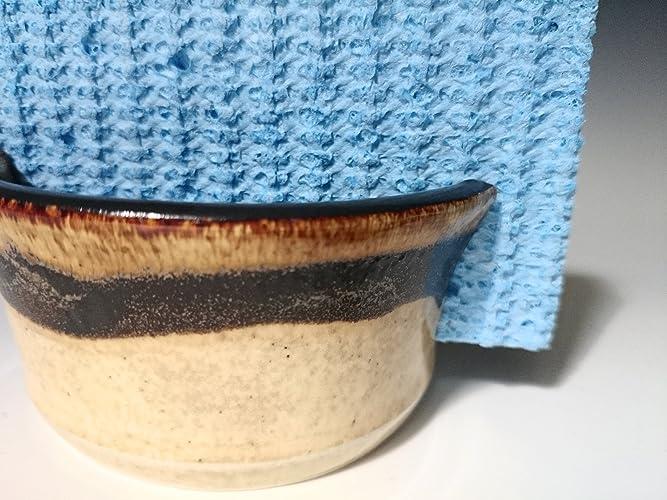 Handmade Sponge Holder / Sink Caddy ~ Stoneware Ceramic Pottery   Yellow  Wheat With Brown Swirl