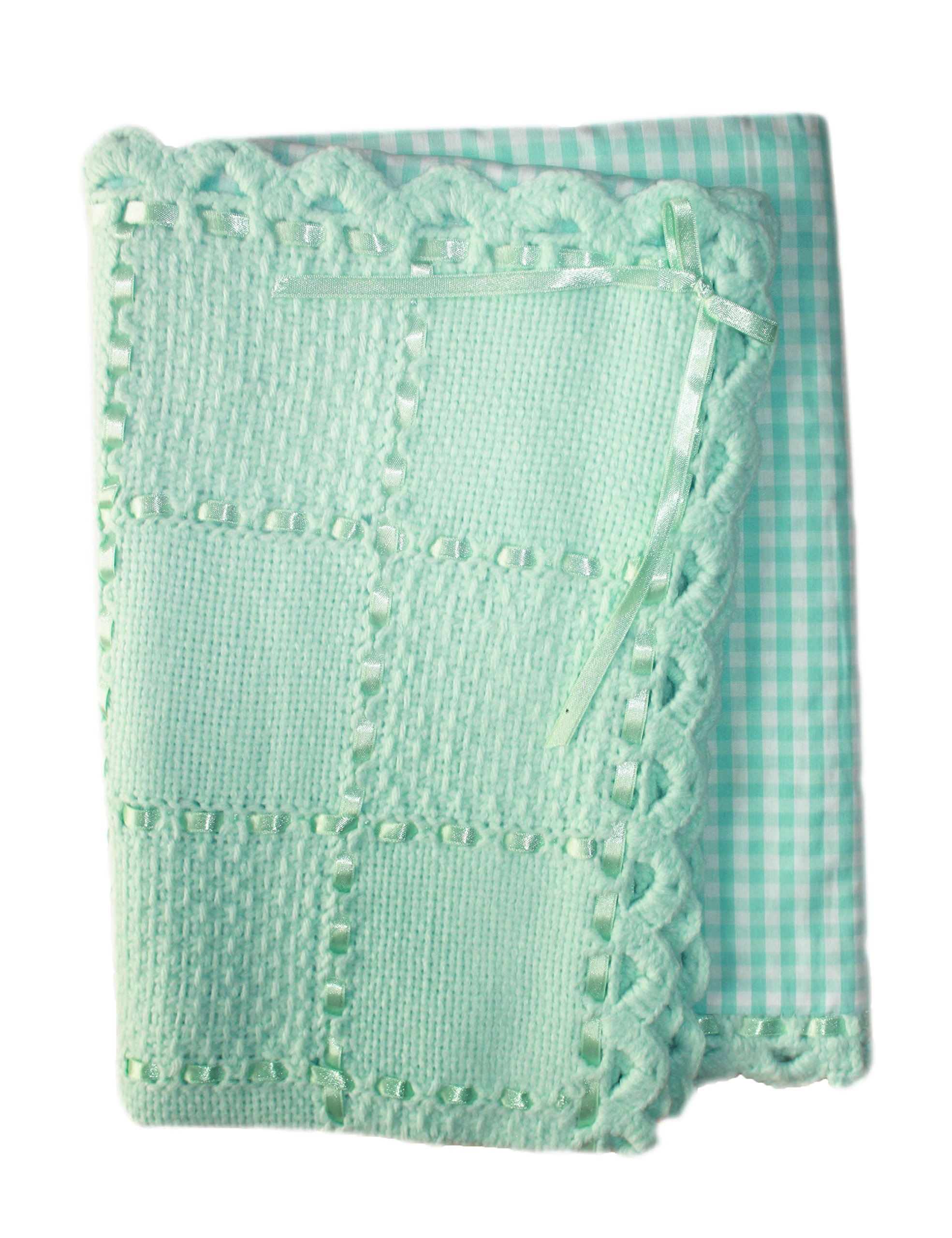 Knitted Baby Blanket Handmade with Love by a Grandma. Knit Newborn Baby Blanket with Soft Cotton Backing (BabyLove3)