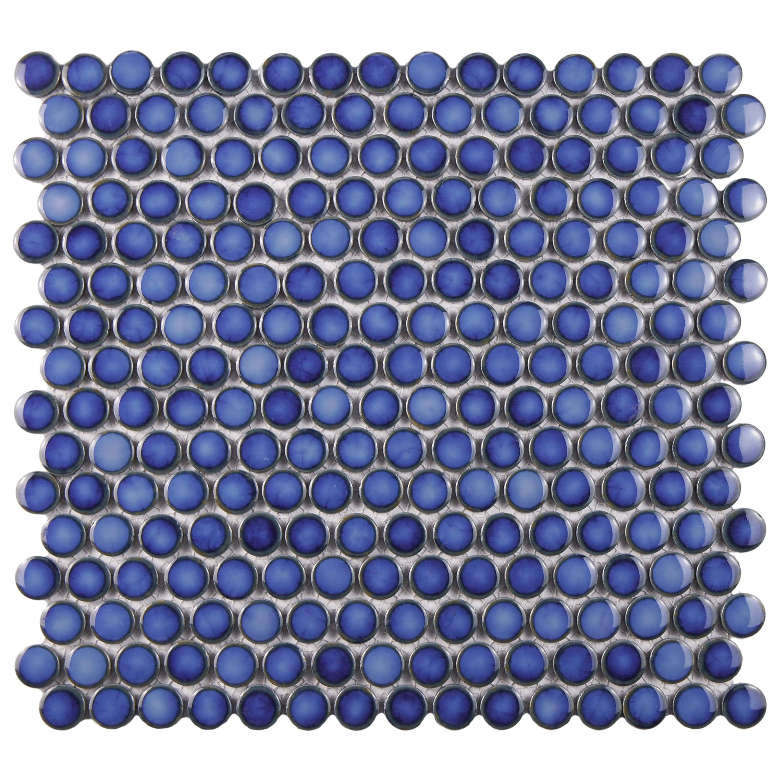 SomerTile FKOMPR44 Penny Porcelain Floor and Wall Tile, 12'' x 12.625'', Glossy Sapphire Blue