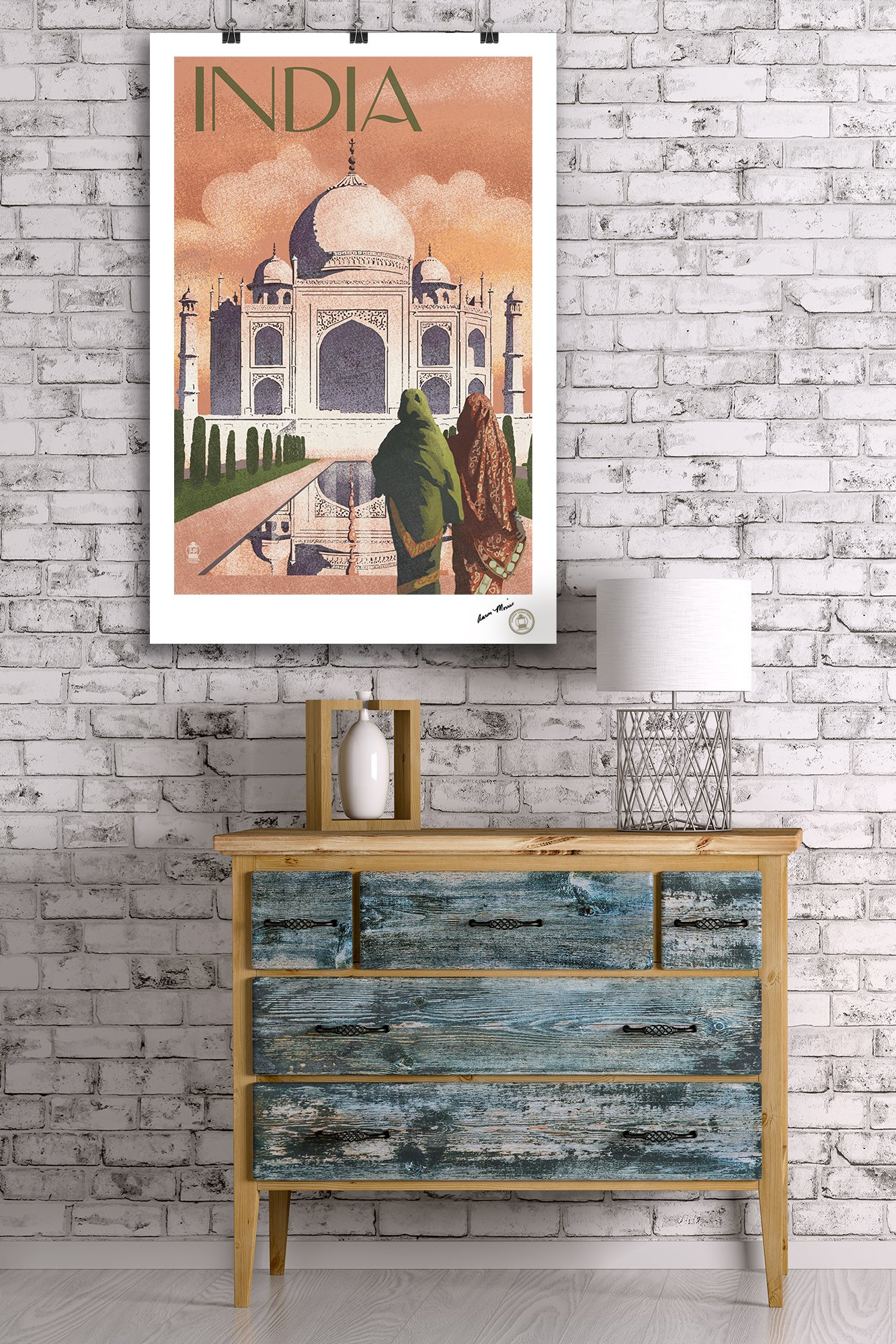 Taj Mahal, India - Lithograph Style (24x36 SIGNED Print Master Giclee Print w/ Certificate of Authenticity - Wall Decor Travel Poster) by Lantern Press (Image #2)
