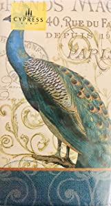 Cypress Home Magestic Proud Peacock Guest Towels Buffet Paper Napkins, 32 ct
