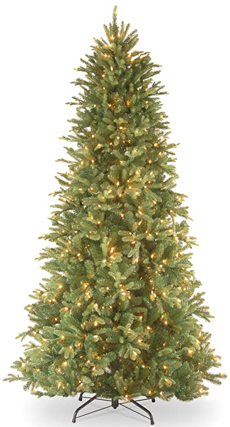 national tree 65 foot feel real tiffany fir slim tree with 500 - Real Christmas Tree Decorated