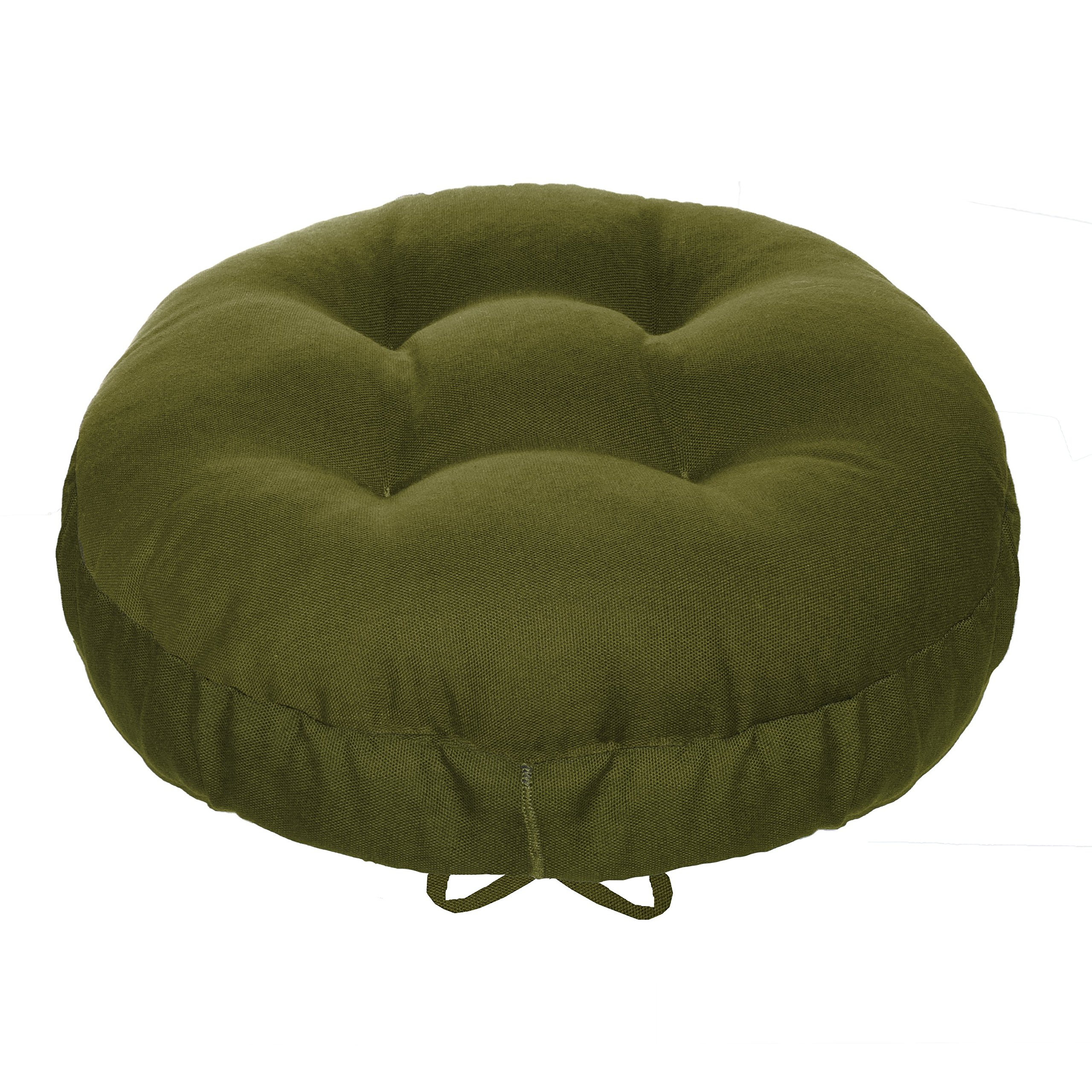 13'' Round Barstool Cushion with Drawstring Yoke - Solid Color Olive Green Cotton Duck Canvas - Latex Foam Fill - Adjustable Bar Stool Pad