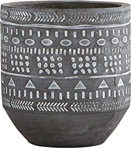 Amazon Brand – Rivet Modern Concrete Indoor Outdoor Planter Pot With Painted Accents - 5 Inch, Grey and White