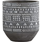"""Rivet Modern Concrete Planter With Painted Accents, 6""""H, Grey/White"""