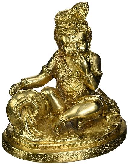 Gangesindia Lord Bal Gopal Krishna Eating Butter Brass Statue