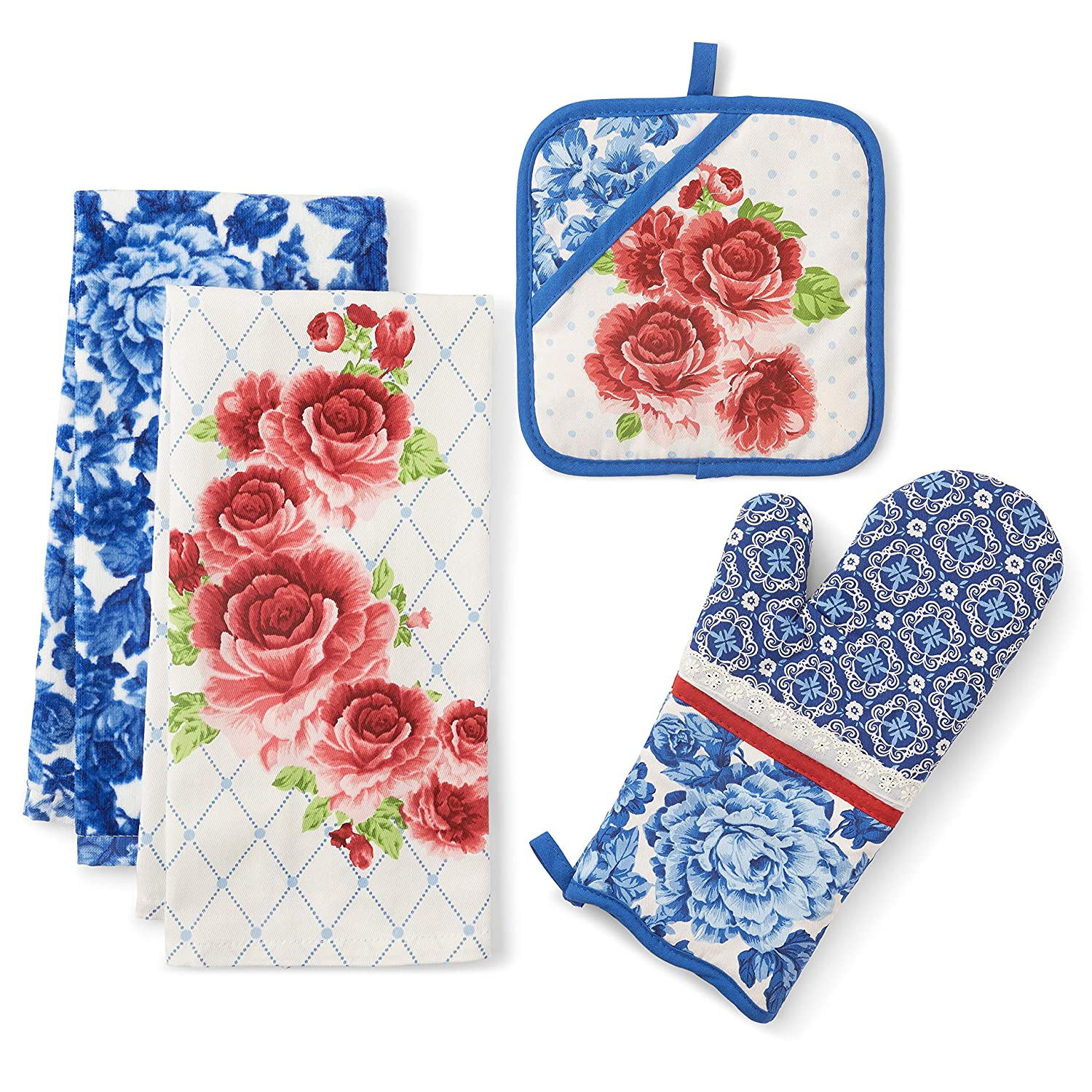 "The Pioneer Woman ""Heritage Floral Oven Mitt Pot Holder and Kitchen Towel Set"