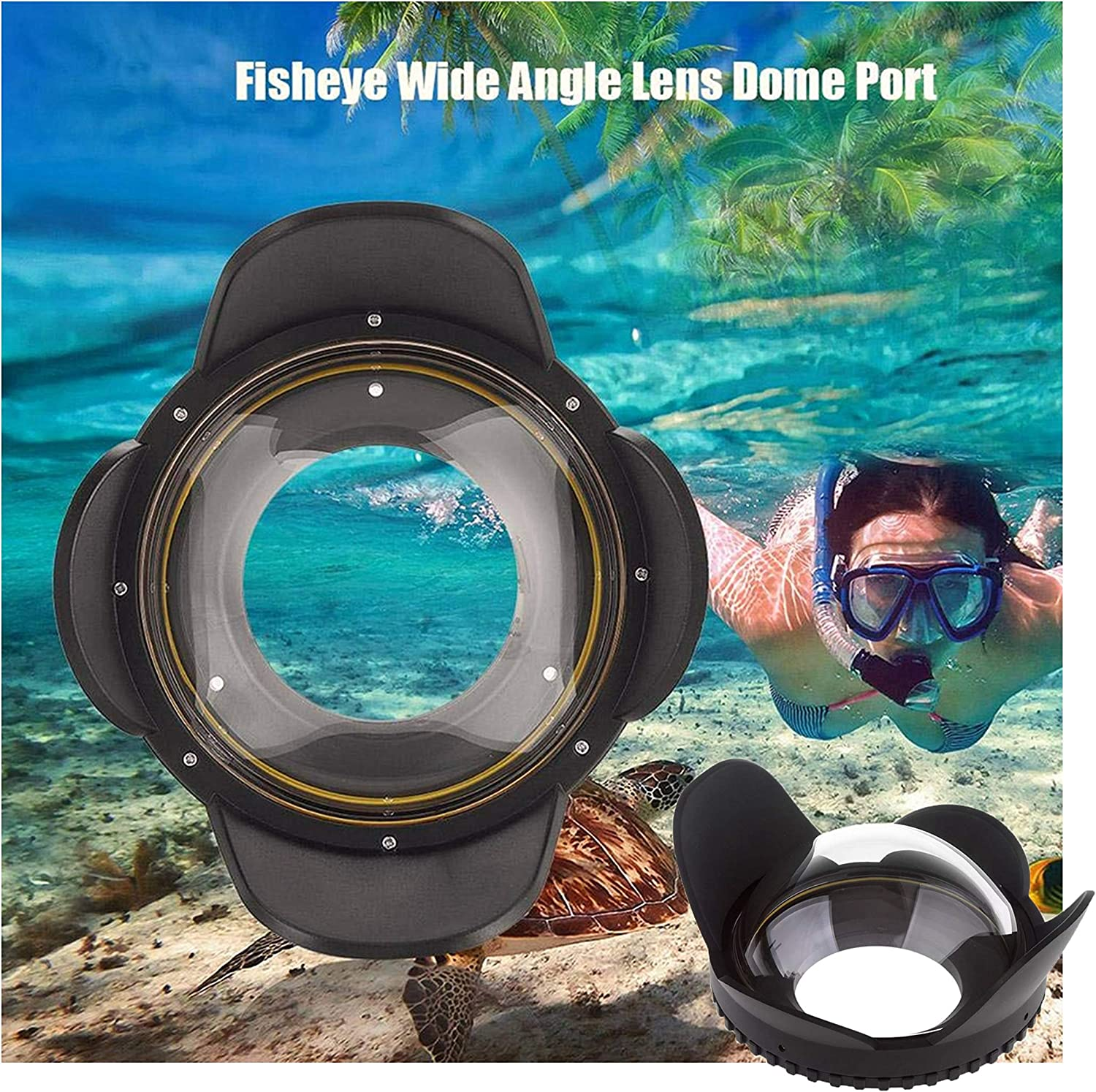 Waterproof Diving Dome Port with 60m//197ft Pressure Resistant for Underwater Camera Housing Venidice 67mm Fisheye Wide-Angle Lens