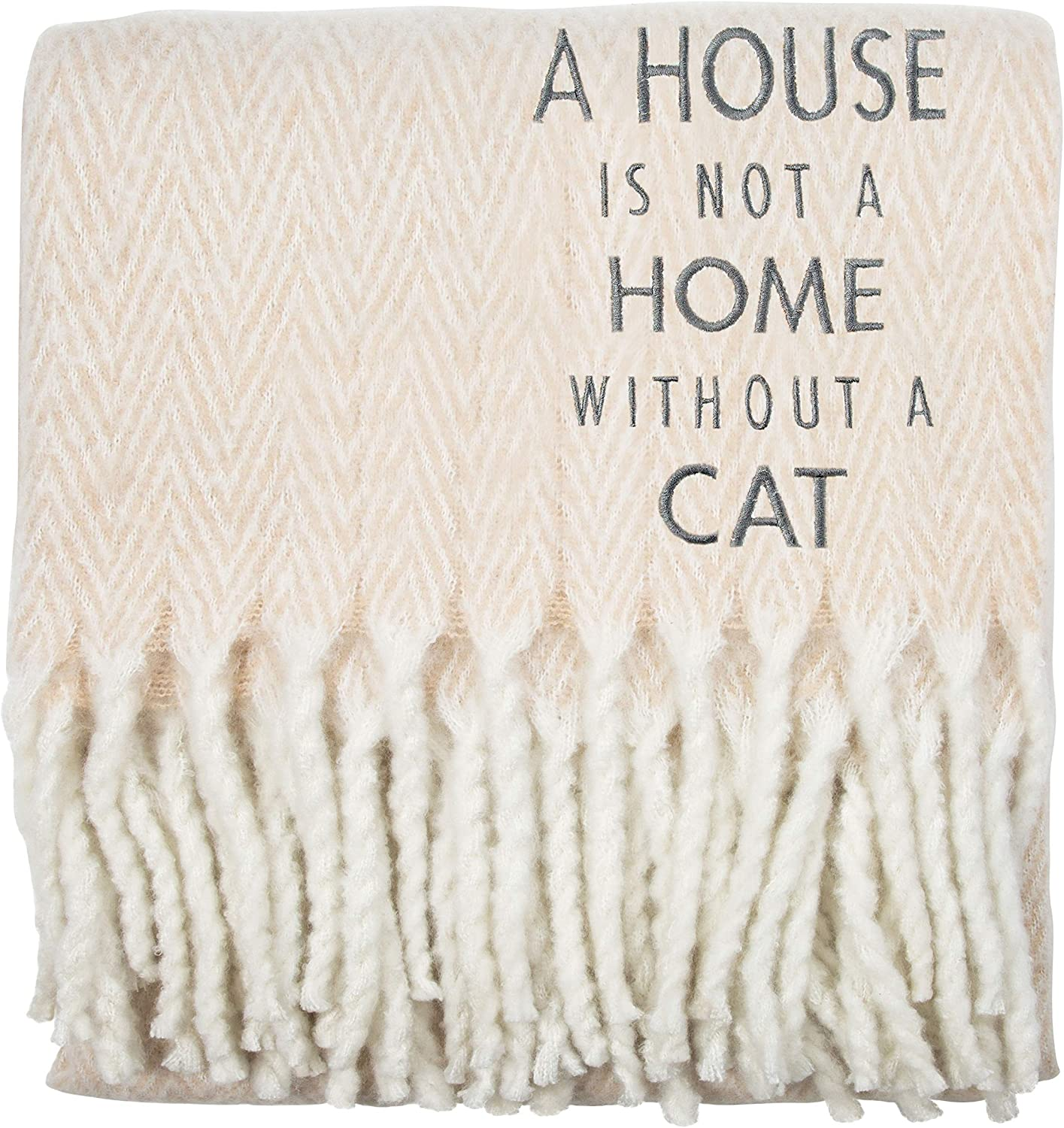Pavilion Gift Company House is Not A Home Without A Cat-50x60 Super Soft Herringbone Chevron Tassel Throw Blanket, Tan
