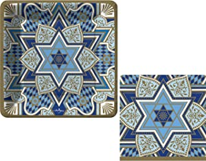 Rich Tradition Jewish Holiday Party Supply Pack: Bundle Includes Paper Appetizer/Dessert Plates & Napkins for 16 People