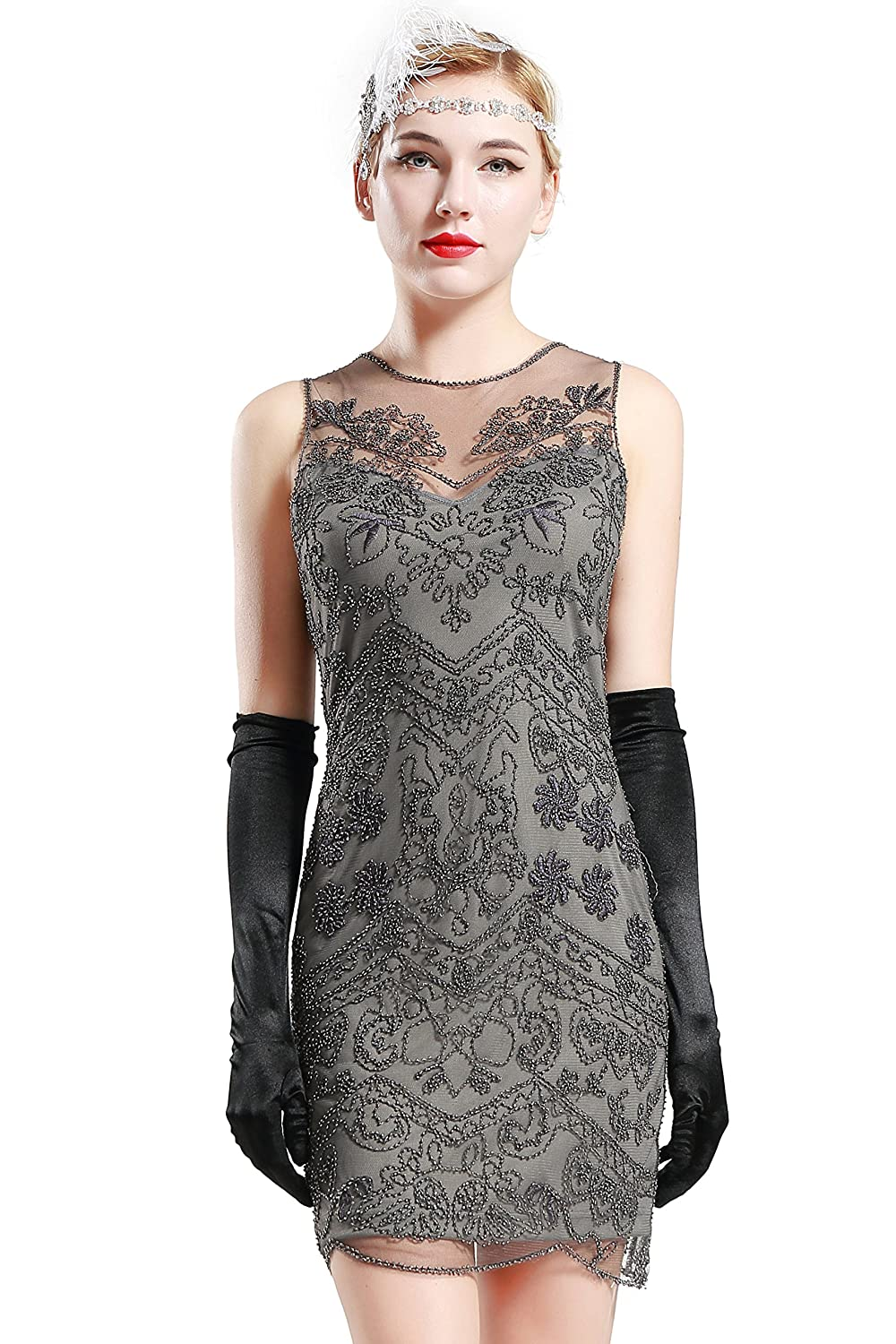 ba4512f7 BABEYOND 1920s Flapper Dress Roaring 20s Great Gatsby Clothing Dress Beaded  Embellished Dresses Cocktail Art Deco Dress (Label M/UK12-14/EU40-42): ...