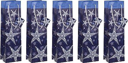 5 x Noël Bouteille Sacs Cadeau Wrap Rouge Argent Or Noël Wrap