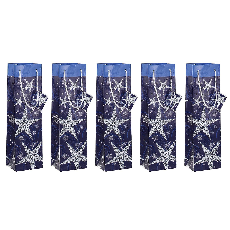 White Set of 5 Sigel GT027 10x35x8 cm Paper gift bags for bottles Shining Stars Blue