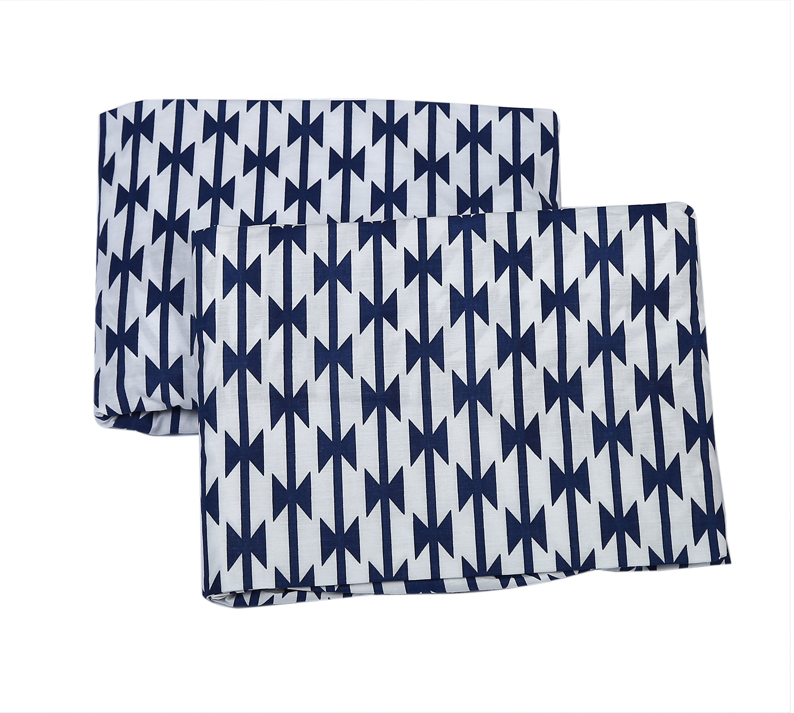 Bacati Aztec Kilim 2 Piece Crib/Toddler Bed Fitted Sheets Cotton Percale, Navy