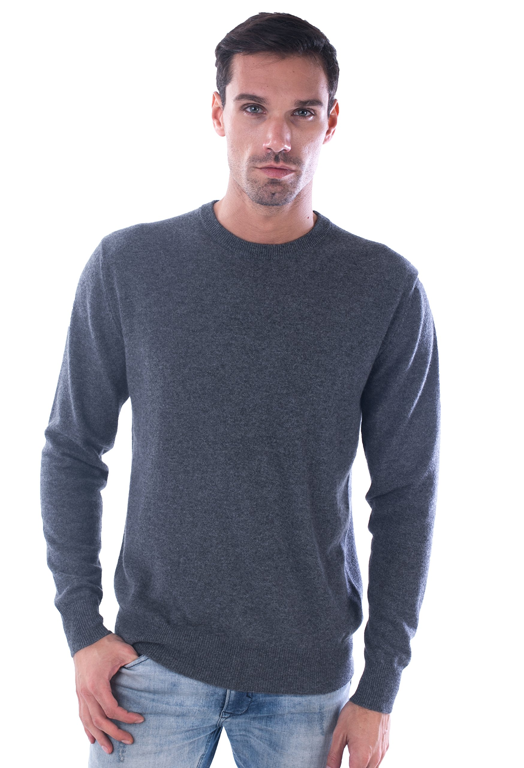 LEBAC Men's 100% Cashmere Round Neck Sweater by LEBAC