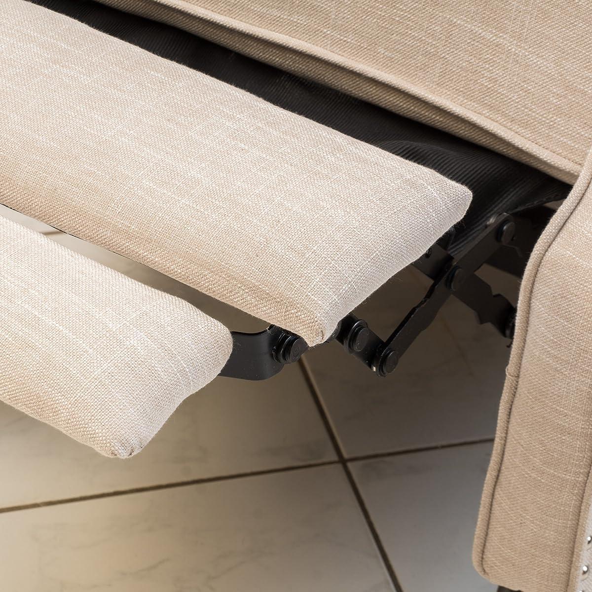 Elizabeth Light Beige Tufted Fabric Arm Chair Recliner