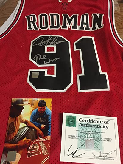 bd2450464b2 AUTOGRAPHED DENNIS RODMAN CHICAGO BULLS JERSEY INSCRIBED THE WORM ...