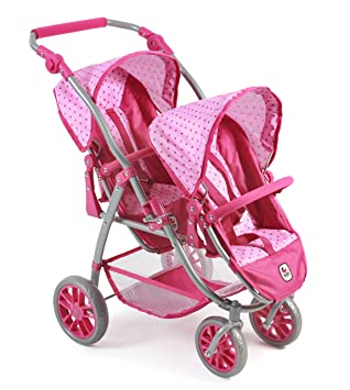 Amazon.es: Bayer Chic 2000 689 31 - Tandem de Buggy Vario, Zwilling Carro para muñecas de hasta 50 cm Aprox., Dots Rosa: Juguetes y juegos