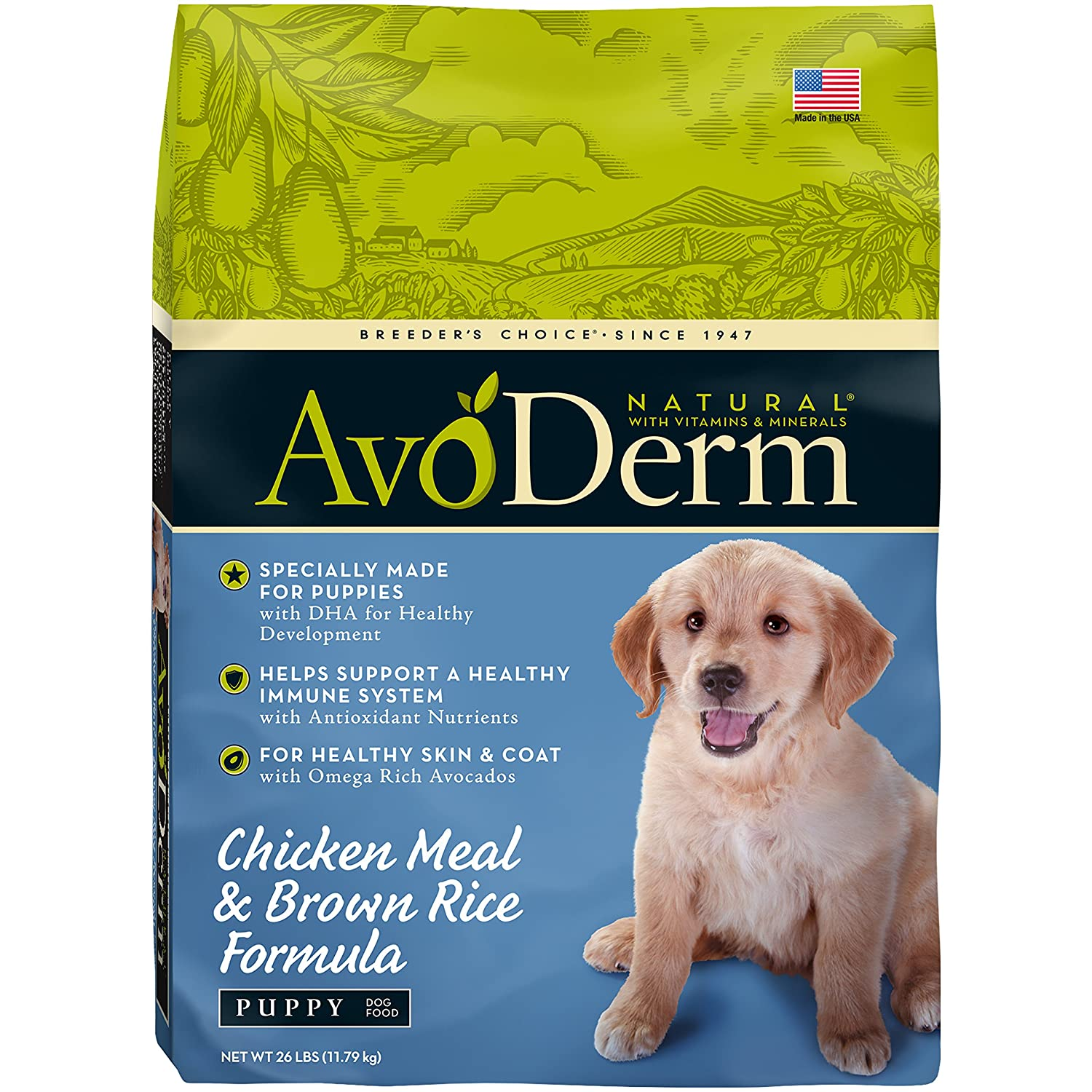 AvoDerm Natural Puppy Dry Wet Dog Food, DHA For Brain Eye Development, Chicken Brown Rice Formula