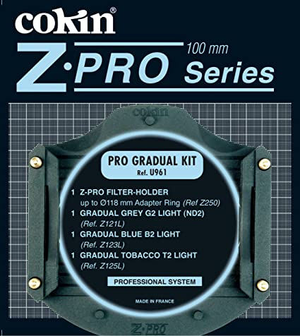Cokin Pro Graduated Filter Kit Z Series with Filter Holder & Graduated ND Filters #121L Graduated Light Blue #2 Filter #123L Graduated Tobacco #2 Light Filter #125L Effects Filters at amazon
