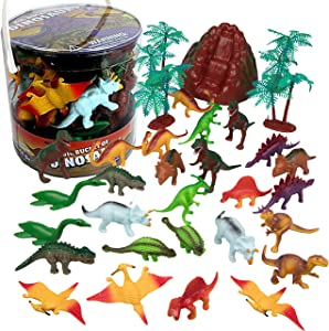 """SCS Direct Dinosaur Action Figure Toys for Boys and Girls - 30 Ct Set (19 Unique Designs) of Mini Dino Figurines- Assorted 2""""-3"""" Figures"""