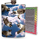 High Falling Kitty Flask Steel 8oz Stainless Steel Whiskey Liquor Vodka Flasks Clouds Trippy Cats
