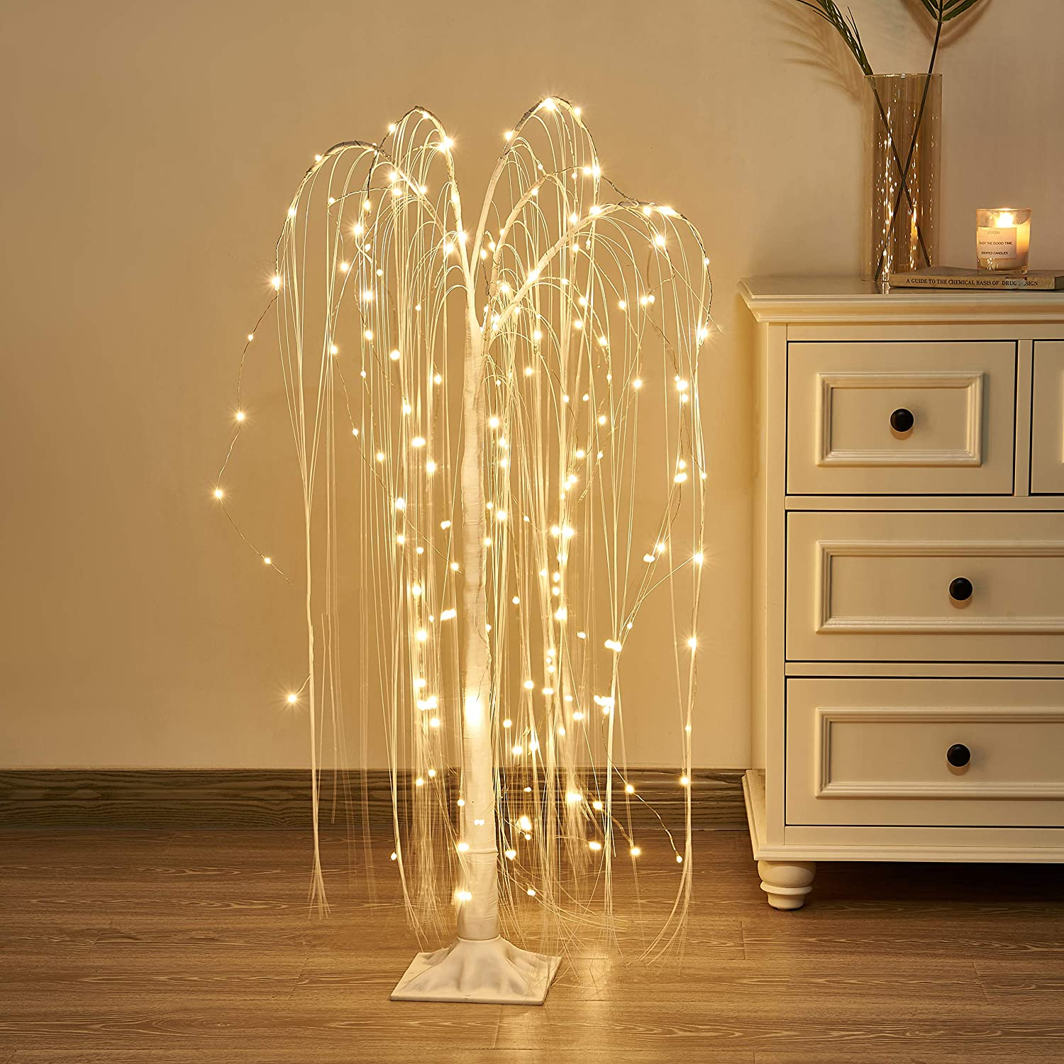 Vanthylit 4FT 180LED White Willow Tree Light with Fairy Lights Warm White for Home Wedding Holiday Party Indoor and Outdoor Decor