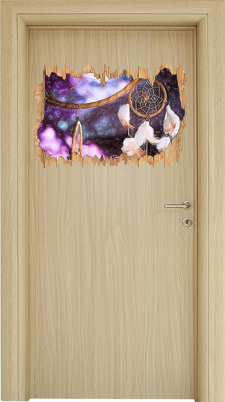 Dream catcher con sfondo lilanem arte matita colorata effetto legno svolta nel look 3D, parete o formato adesivo porta: 62x42cm, autoadesivi della parete, autoadesivo della parete, decorazione della parete Stil.Zeit