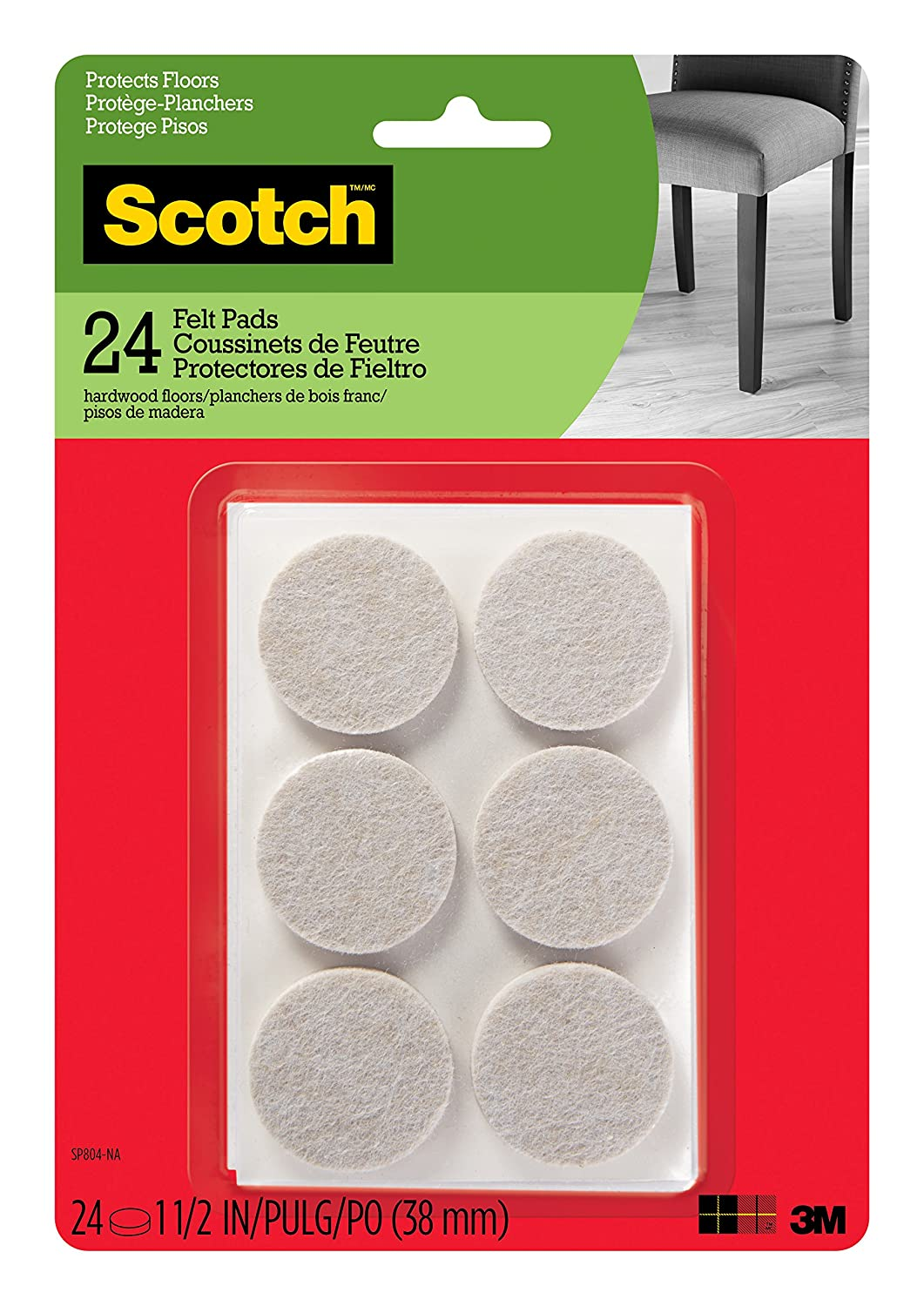 Scotch Brand SP804-NA Scotch Felt Pads Round, 1.5 in. Diameter, Beige, 24/Pack,