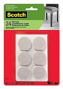 Scotch Brand SP804-NA Scotch Felt Pads Round, 1.5 in. Diameter, Beige, 24/Pack,