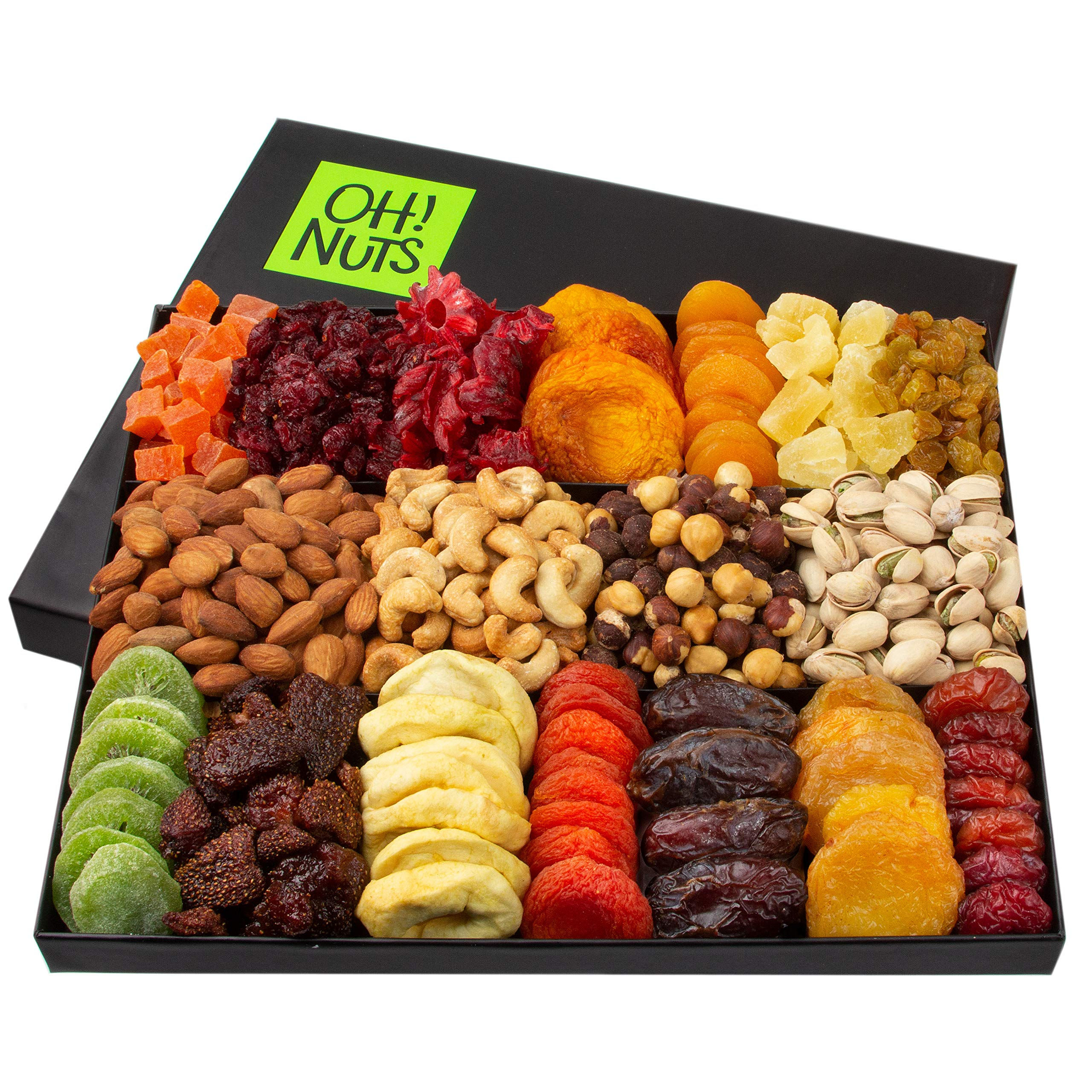 Oh! Nuts 18 Variety Nut & Dried Fruit Gift Basket | Mothers Day, Fathers Day, Easter Gift Basket | Healthy Gourmet Holiday Family Gift Box - Food Snack Set Ideas for Christmas, Birthday Gifts