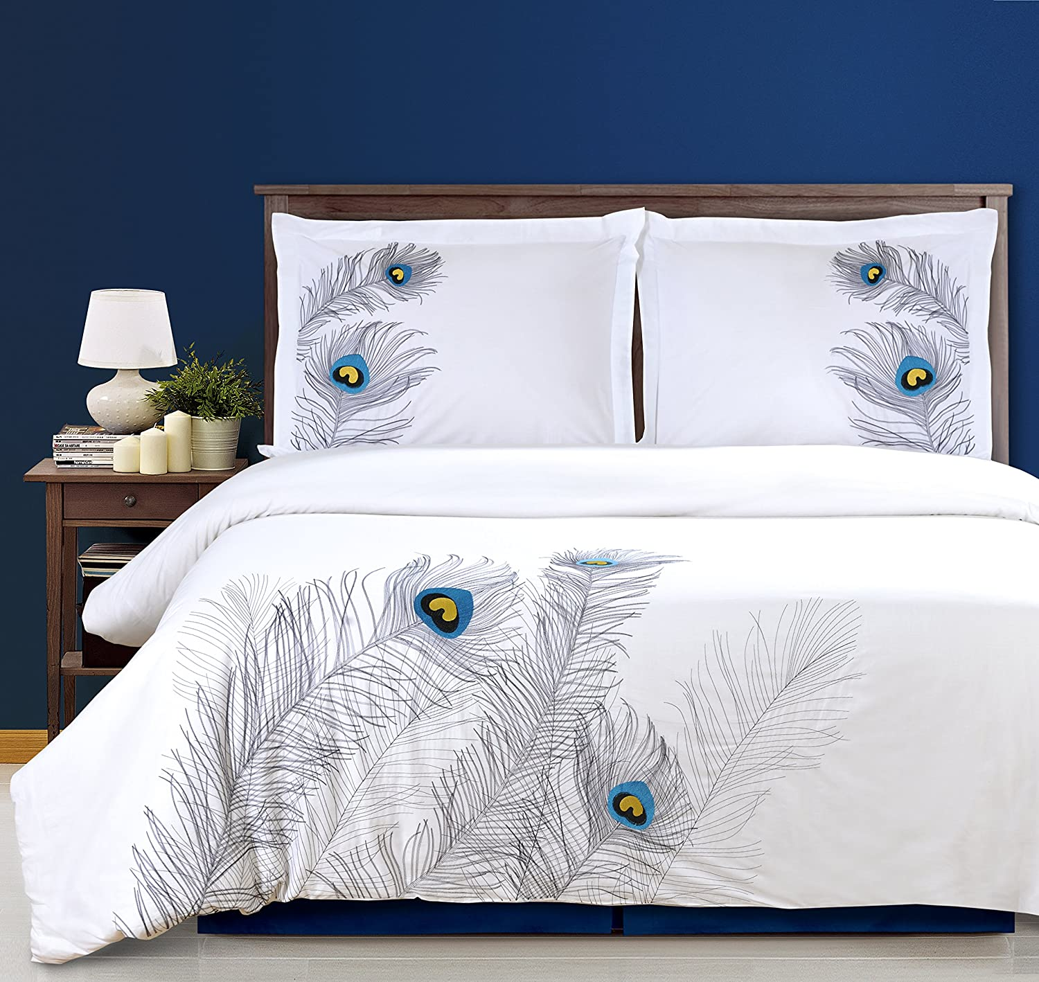 100% Cotton, 3-Piece Full/Queen Single Ply, Soft, Embroidered Peacock Duvet Cover Set, Silver