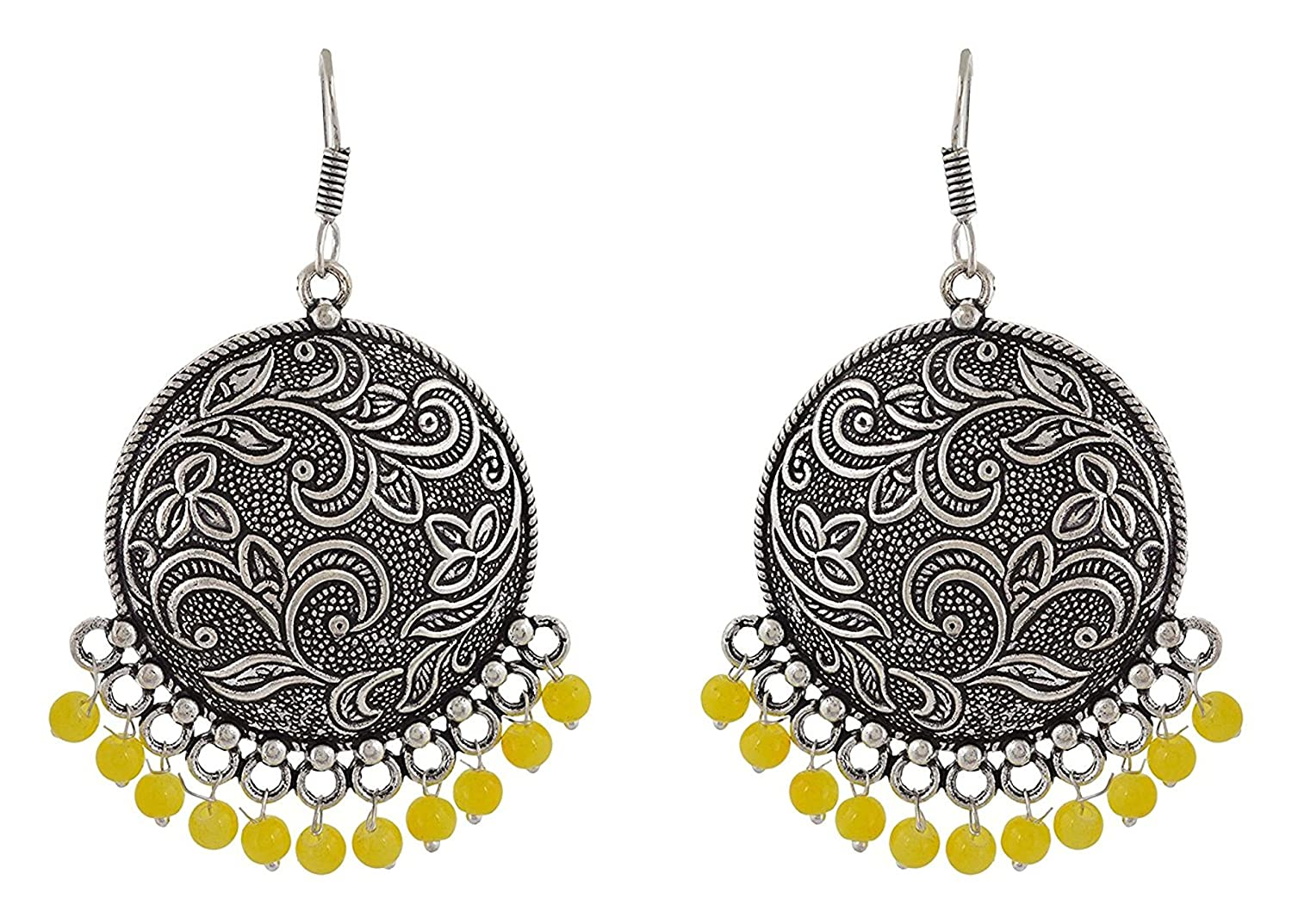 Subharpit Floral Yellow Beads Oxidized Silver Traditional Indian Dangle Earrings for Women /& Girls