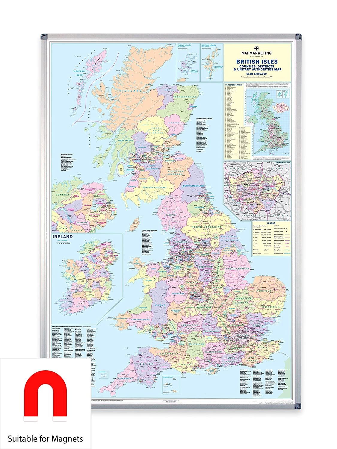 Map Of Uk 1500.Uk Counties Large Wall Map For Business Laminated Amazon Co Uk
