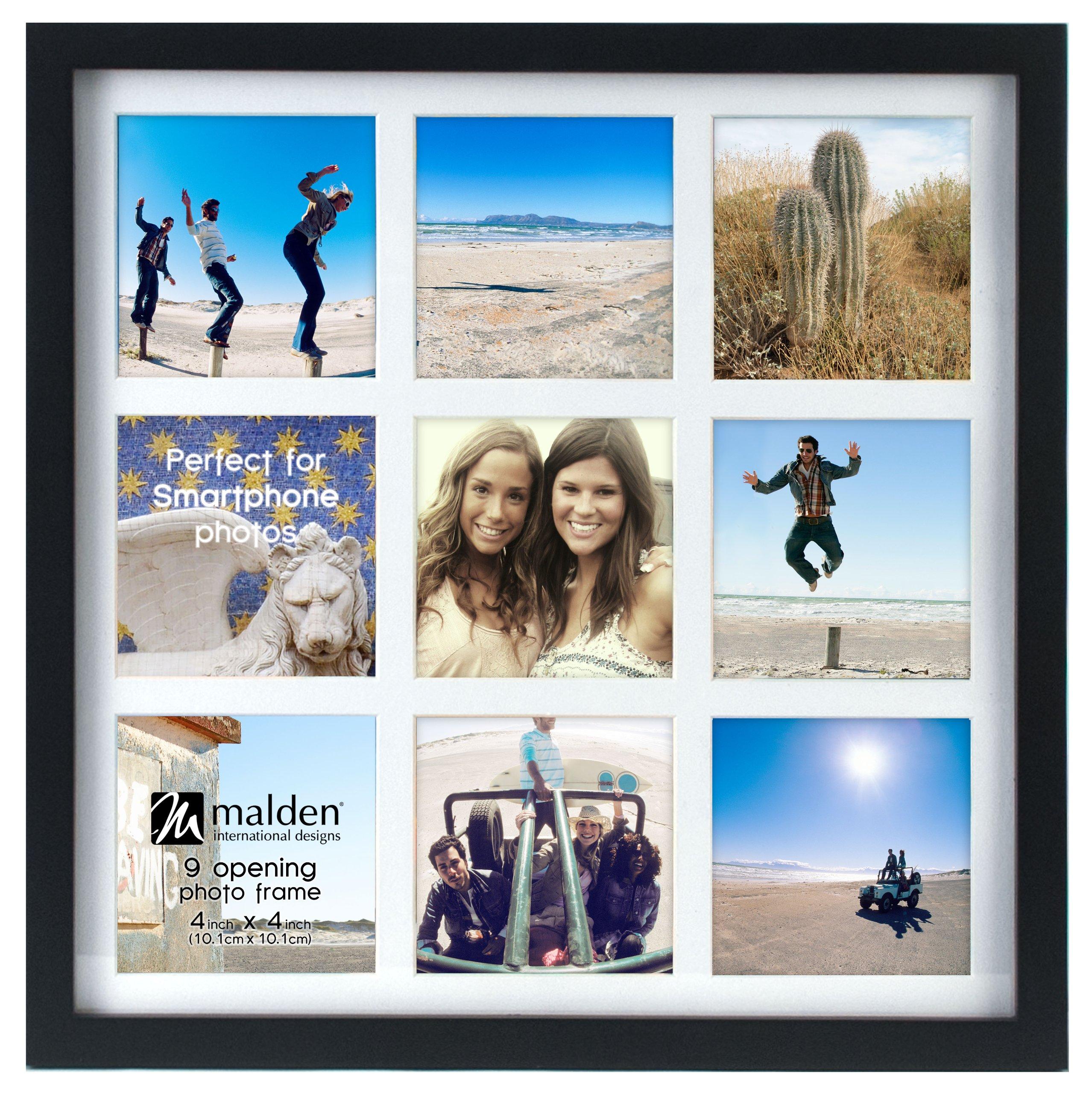 Malden International Designs Smartphone Collection Black Wood Collage Picture Frame,9 Option, 9-4x4, Black by Malden International Designs