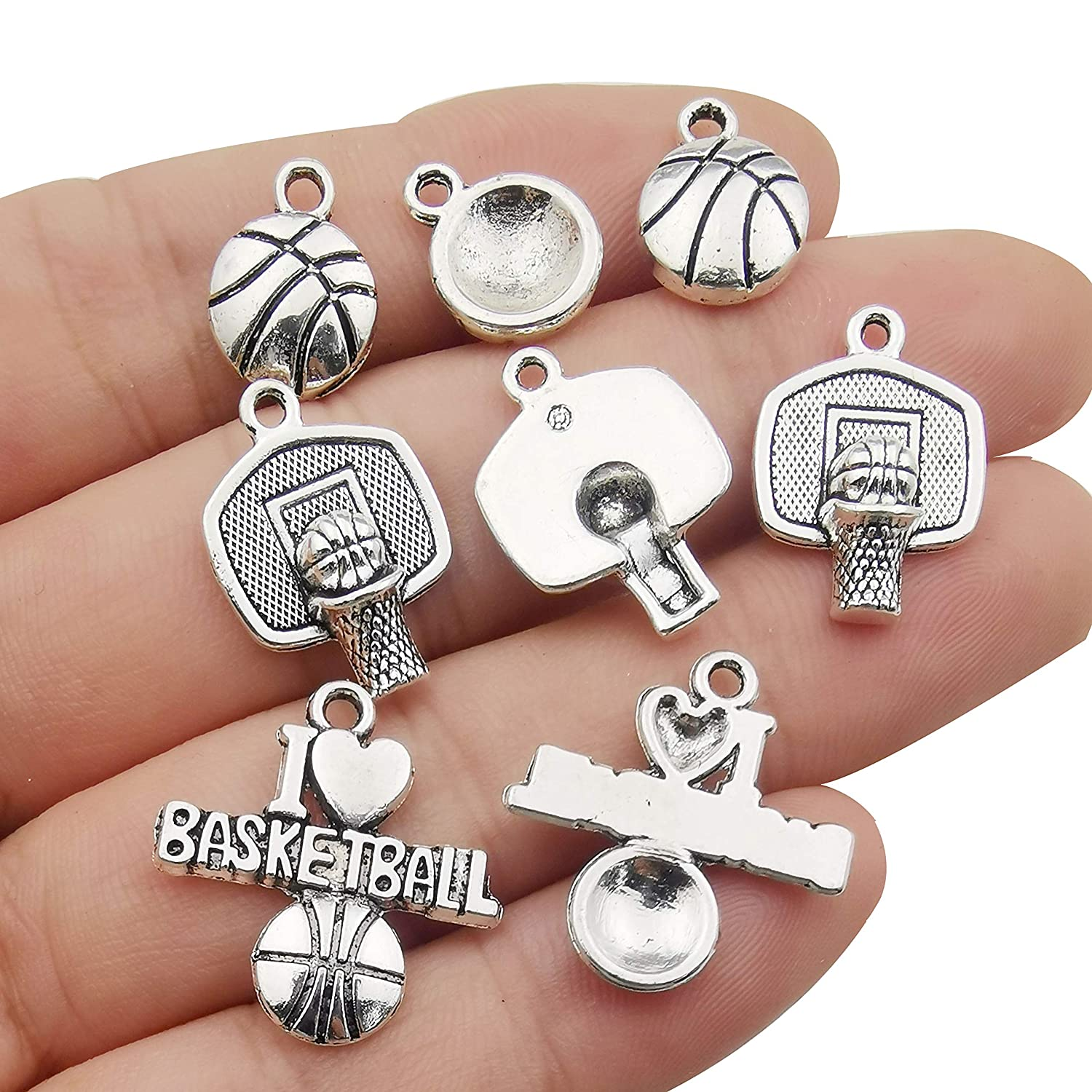 Ball Sports Charms-45pcs Alloy Love Volleyball Ball Sports Fitness Charms Pendants Beads Charms for DIY Jewelry Making Bracelet Necklace Earrings Parts M322