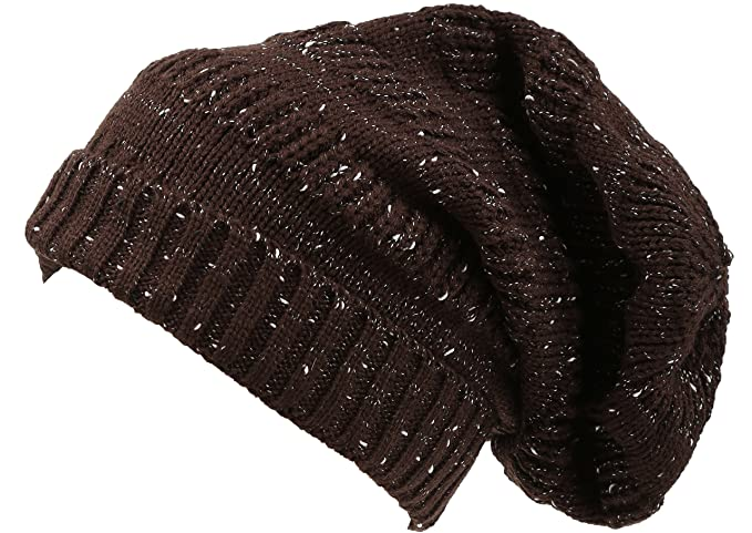 f971e0689cb Sakkas 16148 - Kase Long Tall Slouchy Striped Knit Fishermans Unisex Solid Beanie  Hat - Brown