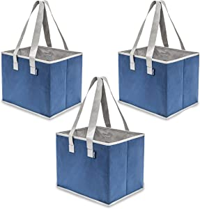 Planet E Reusable Grocery Shopping Bags Large Collapsible Boxes With Reinforced Bottoms Made of Recycled Plastic (Pack of 3)