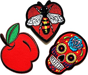 Nipitshop Patches Set 3 Pcs Cute Apple Fruit Patch Red Skull Sugar Mexican Candy Red Bee Retro Boho Cartoon Kid DIY Applique Embroidered for Clothes or Gift Sets