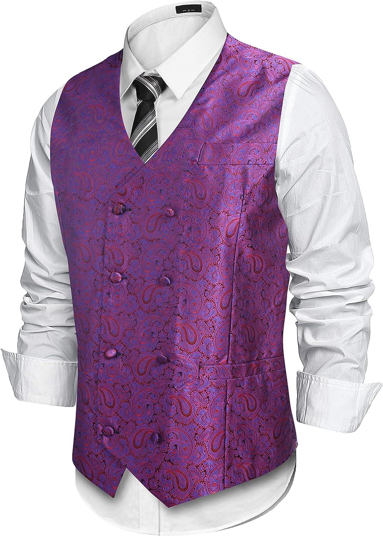 Lamore Mens Paisley Waistcoat Floral Satin Jacquard Classic Retro Button Suit Vest
