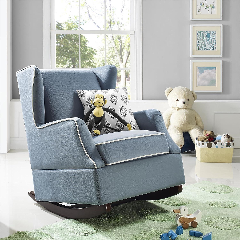 Beige Baby Relax Hudson Upholstered Wingback Nursery Room Rocker Camel