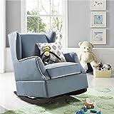 Baby Relax Hudson Upholstered Wingback Nursery Room Rocker, Baltic Blue