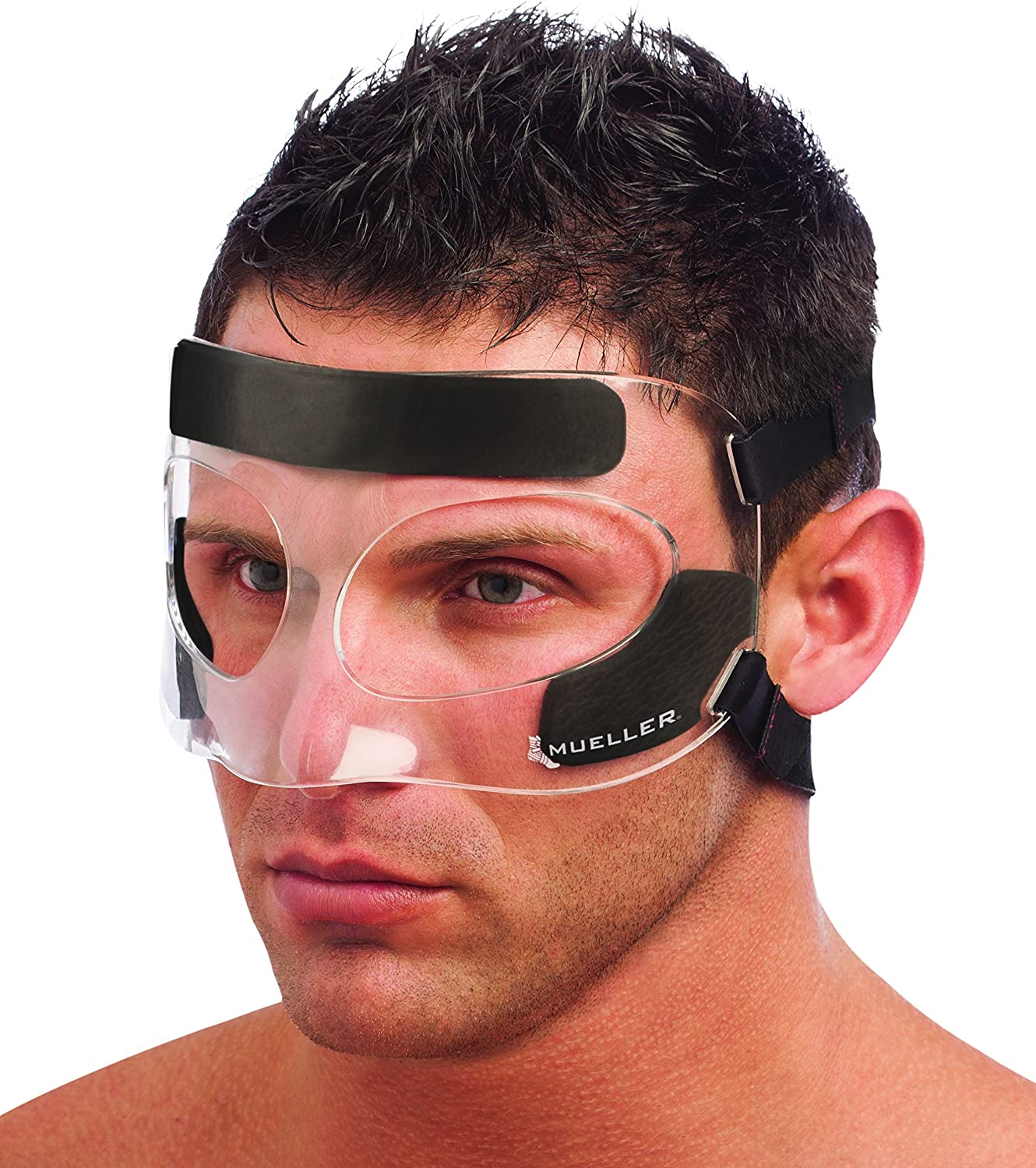 Mueller Face Guard | Protection from Impact injuries to Nose and Face, Clear, One Size Fits Most : Sports & Outdoors