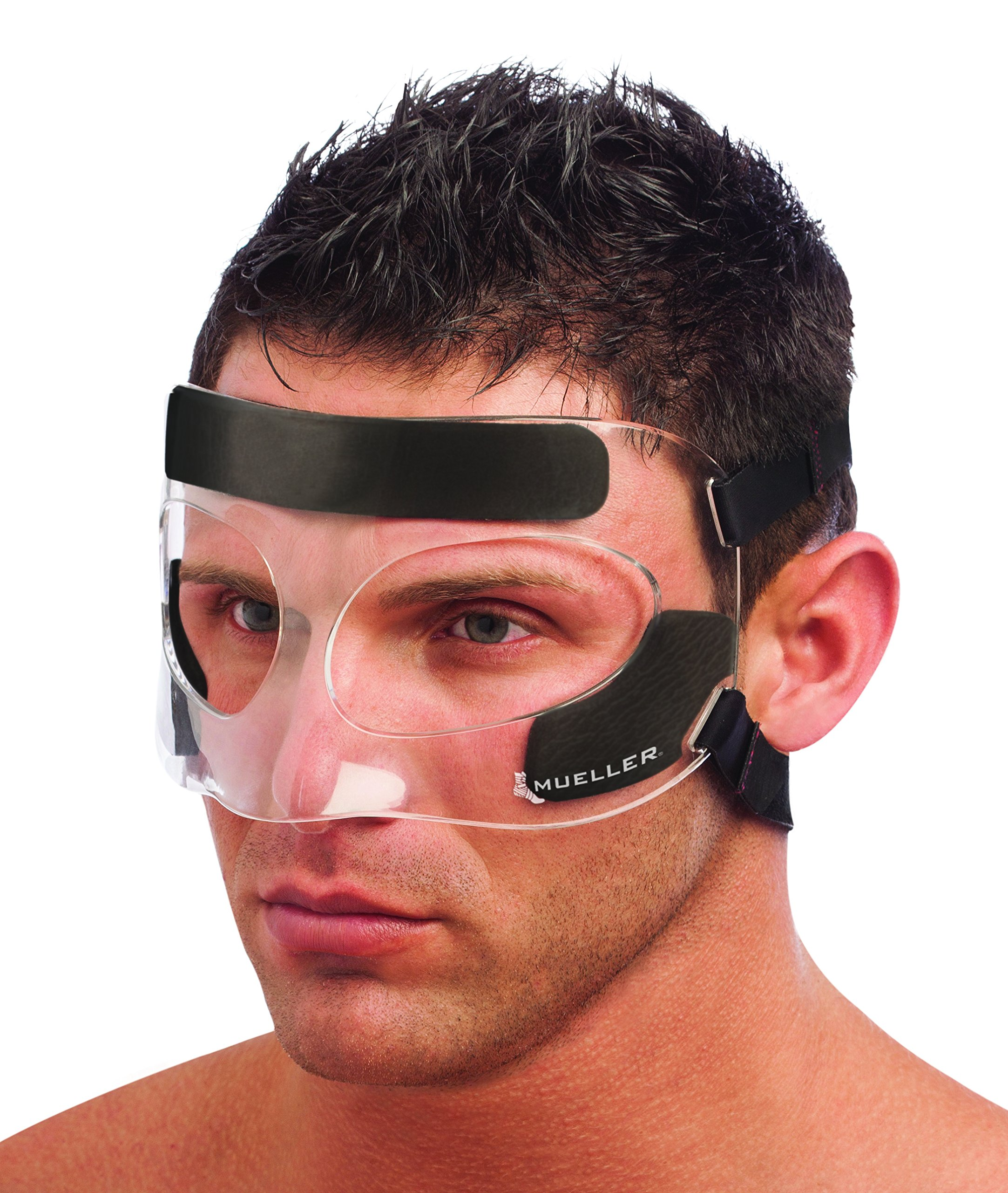 Mueller Face Guard | Protection from Impact injuries to Nose and Face, Clear, One Size Fits Most by Mueller