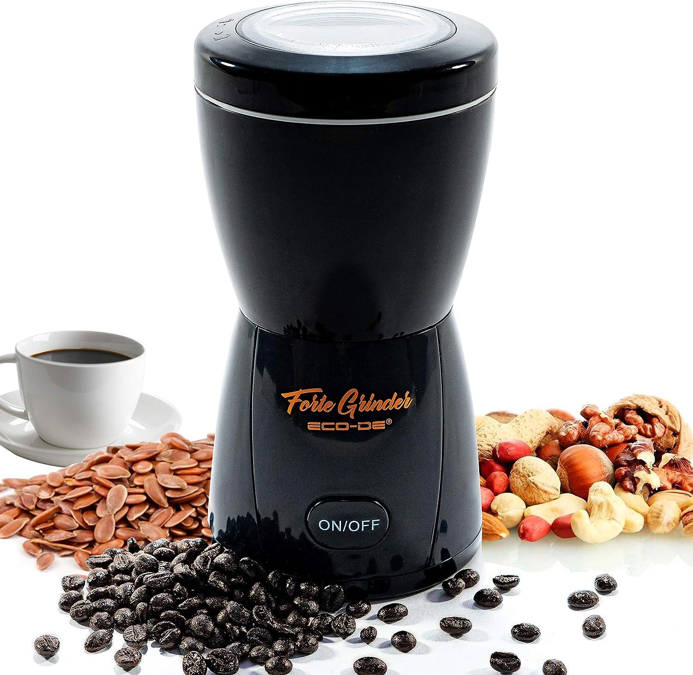 ECODE Molinillo Eléctrico De Café Forte Grinder,Cuchillas de Acero INOX. 304, Tapa Transparente, Sistema De Seguridad, Moler Especias, Semillas, Frutos Secos, Capacidad 80 Grs, Power:200/400 ECO-410