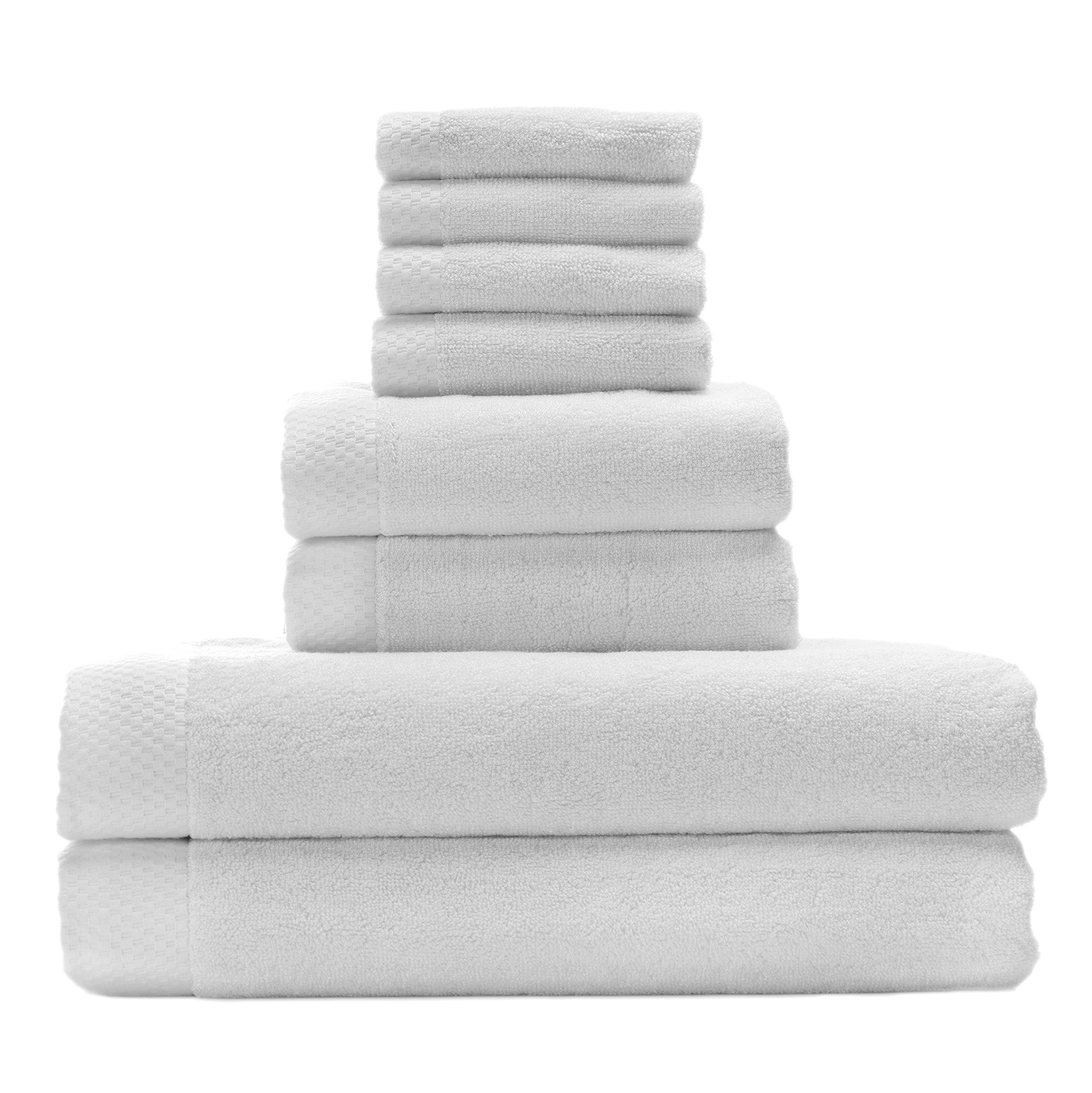 Silky Soft Organic Bamboo Bath Towel Set Bundles By BedVoyage the Eco Resort Collection of Spa Luxuriousness and Opulence In Your Own Bathroom (White)