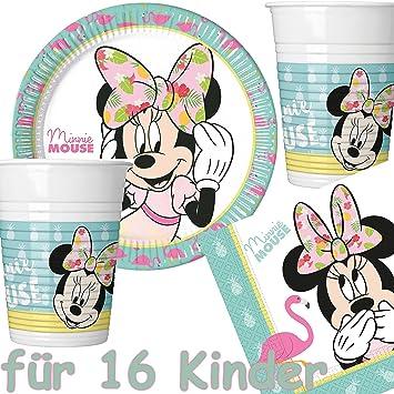 53 Juego De Set De Fiesta Minnie Mouse Tropical Con 16 Platos