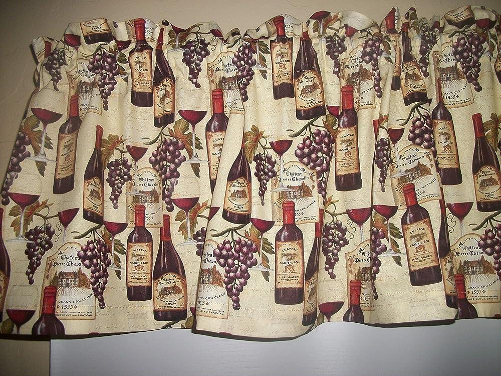Wine Chardonav Grapes Rooster Chicken fabric window curtain topper Valance