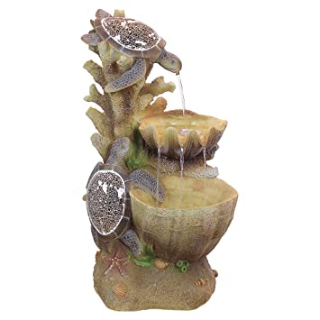 Water Fountain With LED Light   Nearly 3 Foot Tall Sea Turtle Cove Garden  Decor Fountain