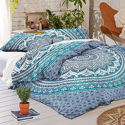 Indian Cotton Ombre Mandala Duvet Doona Cover Throw King Quilt Comforter 5PC Set